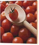 Cherry Tomatoes And Wooden Spoon Wood Print
