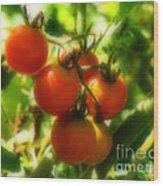 Cherry Tomatoes On The Vine Wood Print