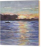 Chesapeake Dusk Boat Ride Wood Print