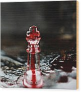 Chess Piece In Blood Wood Print