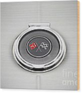 Chevy Gas Cap Silver Emblem Wood Print