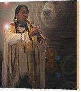 Cheyenne  Flute  Musician Wood Print