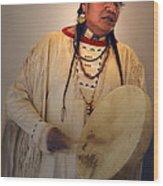 Cheyenne Native American Drummer Wood Print