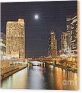 Chicago At Night At Columbus Drive Bridge Wood Print
