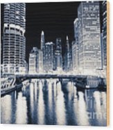 Chicago At Night At Dearborn Street Bridge Wood Print