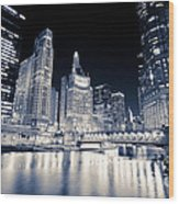 Chicago At Night At Michigan Avenue Bridge Wood Print