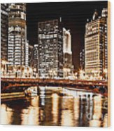 Chicago At Night At State Street Bridge Wood Print