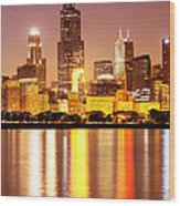 Chicago At Night With Willis-sears Tower Wood Print by Paul Velgos