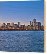 Chicago At Sunset Wood Print