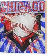 Chicago Baseball Abstract Wood Print by David G Paul