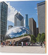 Chicago Bean Cloud Gate With People Wood Print