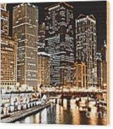 Chicago City Skyline At Night Wood Print