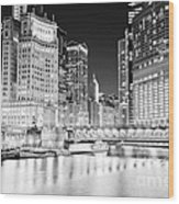 Chicago Cityscape At Night At Dusable Bridge Wood Print