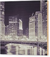 Chicago Cityscape At State Street Bridge Wood Print