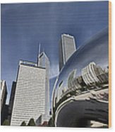 Chicago Cityscape The Bean Wood Print