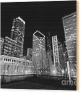 Chicago Downtown At Night  Wood Print