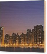 Chicago Downtown Skyline At Night Wood Print