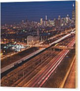 Chicago Illumina Wood Print