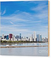 Chicago Lakefront Skyline Wide Angle Wood Print