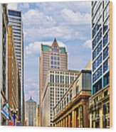 Chicago - Looking South From Lasalle Street Wood Print