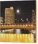 Chicago Michigan Avenue Dusable Bridge At Night Wood Print