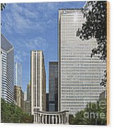 Chicago Millennium Monument And Fountain Wood Print by Christine Till