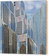 Chicago - One South Wacker And Hyatt Center Wood Print by Christine Till