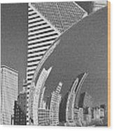 Chicago Reflection Bean Black And White Wood Print