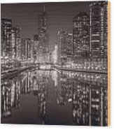 Chicago River East Bw Wood Print