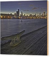 Chicago Skyline And Harbor At Dusk Wood Print by Sven Brogren