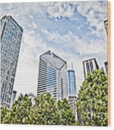 Chicago Skyline At Millenium Park Wood Print by Paul Velgos