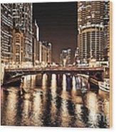 Chicago Skyline At State Street Bridge Wood Print