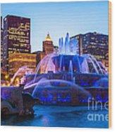 Chicago Skyline Buckingham Fountain High Resolution Wood Print