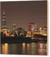 Chicago Skyline Downtown City Buildings At Night Wood Print by Paul Velgos