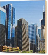 Chicago Skyline Downtown City Buildings Wood Print
