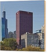 Chicago Skyline From Millenium Park Wood Print