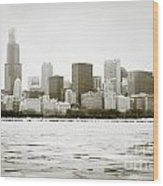 Chicago Skyline In Winter  Wood Print by Paul Velgos