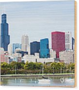 Chicago Skyline Lakefront Wood Print by Paul Velgos