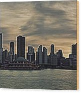 Chicago Skyline Navy Pier Wood Print