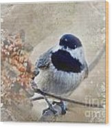 Chickadee Breakfast With Decorations Wood Print