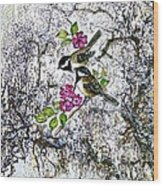 Chickadees In The Filbert Tree Wood Print