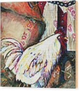 Chicken In The Barn Wood Print