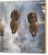 Chickens Roasting On Open Pit Fire Wood Print