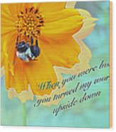 Child Birthday Greeting From Parent Parents - Cosmos And Bumblebee Wood Print