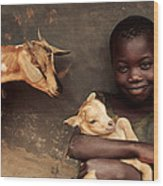 Child Holding A Kid Wood Print
