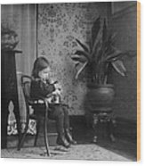 Child Putting A Campbell Kid To Sleep Wood Print by Everett