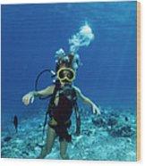 Child Scuba Diver Wood Print