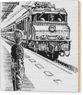 Child Train Safety, Artwork Wood Print by Bill Sanderson