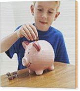 Child With A Piggy Bank Wood Print by Ian Boddy