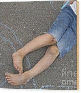 Childhood - Boy Draws With Chalk Wood Print